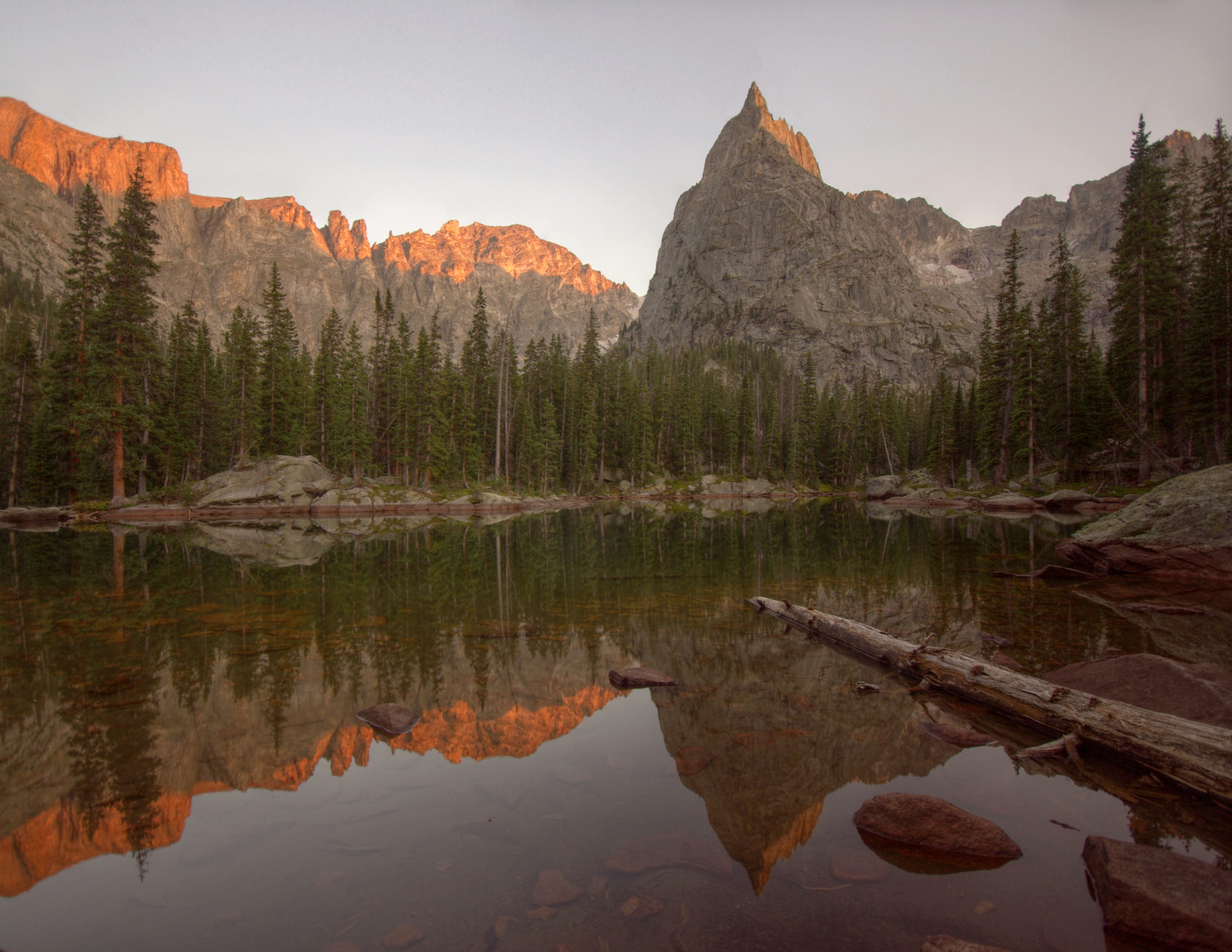 Alpenglow on Lone Eagle Peak from Mirror Lake