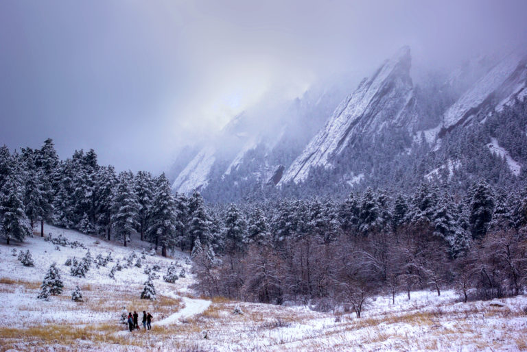 Boulder Flatirons in Snow