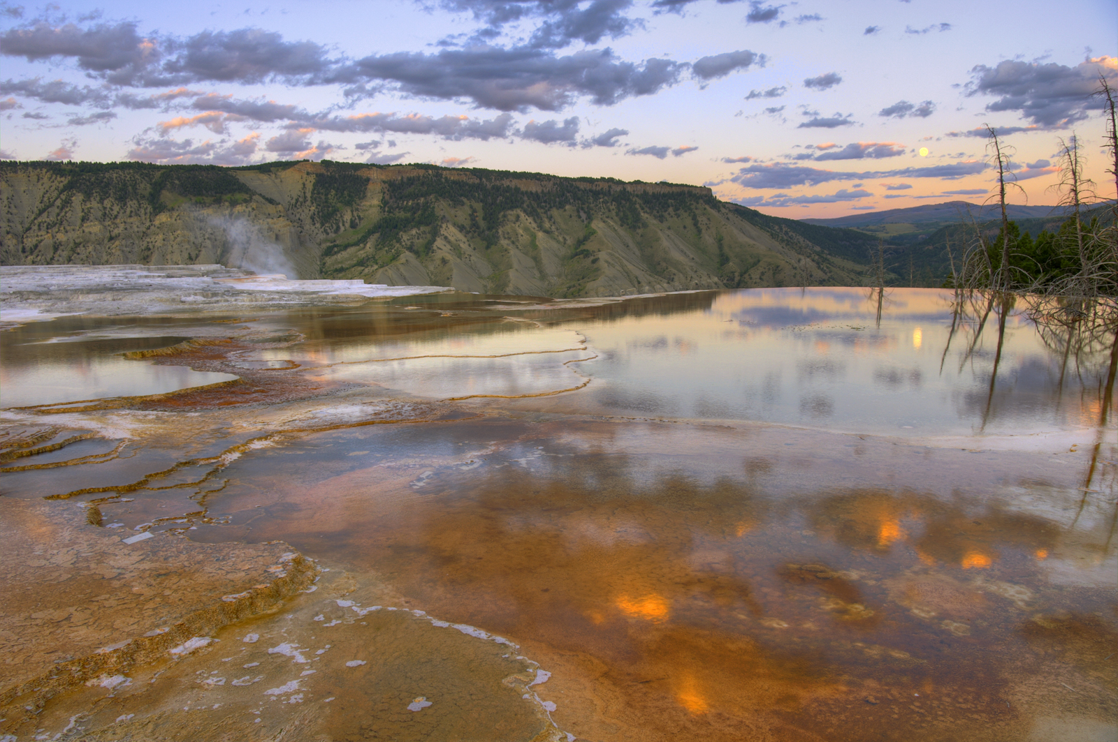 Mammoth Hot Springs Moonrise
